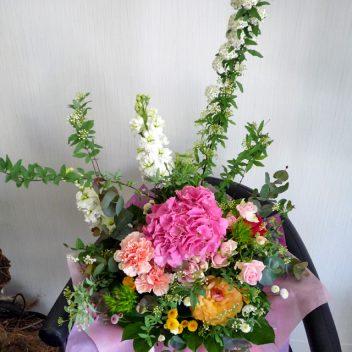 お祝い花束 ピンクアジサイ